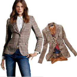 Wholesale Women Blazer V Neck - 2015 Autumn New Womens Vintage Slim Plaid Elbow Patch Single Button Blazer Ladies Casual Fashion Jacket Suit Blaser Feminino