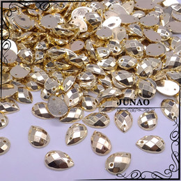 Wholesale Rhinestone Strass - Wholesale-8*12mm Gold Drop Sew On Rhinestone Acrylic Flatback 2 Holes Strass Crystal Stones For Dress Garment 2000pc