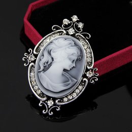 Wholesale Queens Brooches - Classic Vintage Style Retro Cameo Beauty Queen Head Brooch