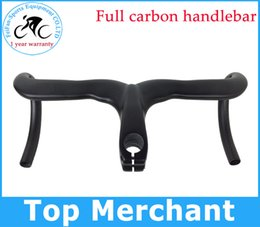 Wholesale Bike Handlebar Ends - Road carbon handlebar full carbon bike handlebar without paint no stickers integrated handlebar with stem caliber 28.6 mm