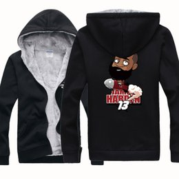 Wholesale Cheap Hoodie Jackets - WHOLESALE NEW CHEAP HOUSTON BASKETBALL HARDEN 13 CARTOON Winter Sports Coats Mens Hoodies Sweatshirts Cardigan Thickening Plus Velvet Jacket