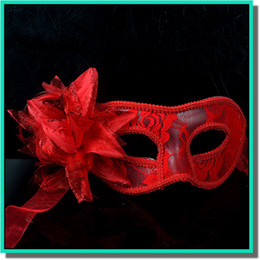 Wholesale Handmade Masquerade Masks - Woman Mask Halloween Masquerade Masks Mardi Gras Venetian Dance Party Face handmade golden cloth Mask 3 colors