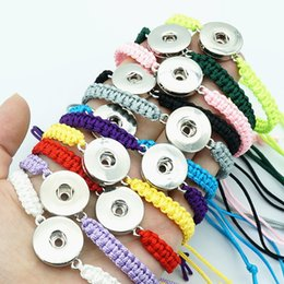 Wholesale Button Toggles - Fashion SE0147 10pcs mixed manual rope bracelets 19CM adjustable for 18mm snap buttons DIY snap jewelry wholesale