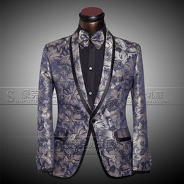 Wholesale Men Wedding Tie - Jackets+Pants+Bow tie Men's Luxury Suits Groom Groomsman Dress Business Suit Pants Wedding Men Summer Slim Fit Prom Mens Silver Suits 2017