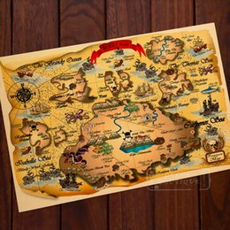 Wholesale Wall Stickers Retro - The ARC Island Adventure Pirate Map Classic Vintage Retro Kraft Decorative Poster Maps Home Bar Posters Wall Sticker Decor Gift