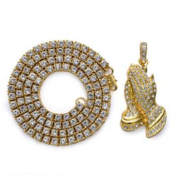 Wholesale Crystal Buddha Pendants - One Row Rhinestone Chain Necklace Bling Praying Buddha Hands Pendant Gold Color For Men Women CZ Simulated Crystal Gifts Necklaces & Pendant