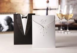 Wholesale Tuxedo Card Invitations - Wholesale-EMS Free Shipping Tuxedo & Dress Bride & Groom Design Wedding Invitations Cards Customizing and Printing (Set of 200)
