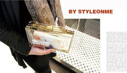 Wholesale Bags Clutch Clear - New Acrylic Transparent Women Clutch Bag Chain Luxury Brand Women Messenger Bags Evening Bag Handbag Chain Shoulder Bags