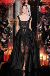 Sexy 2016 Elie Saab Robes de Soirée Dentelle Sheer Noir Front Split Longue Robe de Bal Occasion Spéciale Robes ? partir de fabricateur