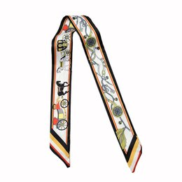 Wholesale Long Spring Scarf For Women - 2017 Twilly Luxury Brand Small Print Silk Scarf For Women Floral Headband Handle Bag Ribbon Long Scarves