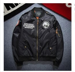 Wholesale Men Frocks - 2016 New Autumn Air Force one pilot flight Embroidered Bomber jacket youth Men women motorcycle frock Coat baseball Outerwear