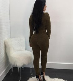 Wholesale Sexy Cloths Night - Autumn and winter sexy women bodycon jumpsuit three-colors V neck bright silk cloth Siamese pants fashion bodysuit night club wear rompers