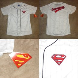 Wholesale Superman Man Steel - DC Comics Superman Baseball Jersey Sz L NWT Man Of Steel Comics Movie Film
