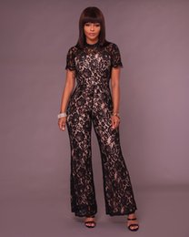 Wholesale Women Sheer Legging - 2017 Women Fashion Black Sheer Lace Long Sleeved Wide Leg jumpsuit Casual macacao Sexy Backless Lace loose pants Full length jumpsuits