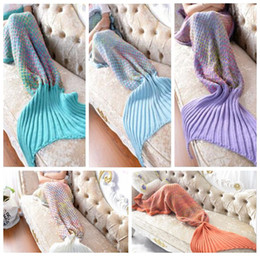 Wholesale Knitting Patterns Adults - 5 Colors 180*80cm Rainbow Mermaid Blanket Pattern Crochet Mermaid Tail Blanket Adult Sleeping Yarn Knitted Mermaid Blankets CCA8365 5pcs