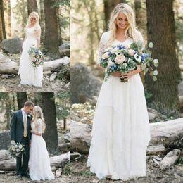 Vestidos ocidentais metade on-line-2018 Western Country Bohemian Forest Vestidos de noiva Lace Chiffon Modest V Neck Half Sleeves Long Vestidos de noiva Plus Size Dress for Wedding