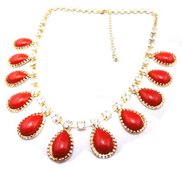 Wholesale Design Crystal Drop Necklace - New Design Crystal Gemstone Drop Charm Tassels Choker Necklace Gold Tone Metal 6pcs lot 5 colors