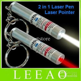 Wholesale Keychain Flashlight Red Light - 200pcs lot # New 2 in 1 White LED Light and Red Laser Pointer Pen Keychain Flashlight Light Key chain