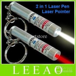 200pcs / lot # Nuova 2 in 1 luce bianca LED e puntatore laser rosso penna portachiavi torcia elettrica portachiavi da