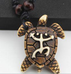 Wholesale Wholesale Wooden Frog - Ethnic Style Wholesale 12pcs lots Imitation yak bone frog Sea turtle pendant wooden beads adjustable necklace