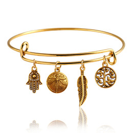 Wholesale Seven Days Bracelet Gold - Seven Styles Gold Plated Expandable Bracelet Stainless Steel Wire Hamsa, Love, Sun Charms Bracelet For Women Free Shipping