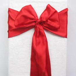 Wholesale Satin Chairs Sashes - 50 Red Chair Sashes banquet Sash Wedding Bows Tie Decor Craft Gift Party -SAT