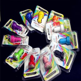 Wholesale Green Volts - Hot sale 100pcs Dual usb port car charger 2.1A+1A car charger + 100pcs retail package for iphone 3 4 5 6 for samsung htc xiaomi