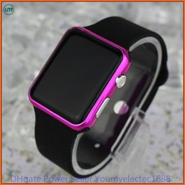 Wholesale Black Watch Red Face - hot New Square Mirror Face Silicone Band Digital Watch Red LED Watches Quartz Wrist Watch Sport Clock Hours