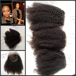 Wholesale 4a Malaysian Hair - brazilian afro kinky curly human hair lace closure 4a 4b 4c G-EASY Hair Products