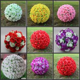 "Wholesale Pink Christmas Ornaments Balls - 12 "" Elegant Artificial Silk Roses Flowers Kissing Ball 10 Colors For Wedding Christmas Ornaments Party Decoration Supplies"