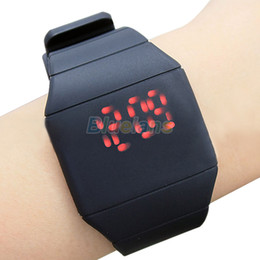 Wholesale Thin Band Digital Watch - luxury Ultra-thin Fashion Mens Lady Women Touch Digital Red Led Silicone Sports Wrist Watch Silicone Band Novelty item 1NTD