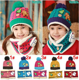 Wholesale Velvet Hat Gloves - Wholesale-Free shipping 2015 Fashion Autumn Winter Baby Girl and Boys Christmas snowman plus velvet warm hat and scarf set Christmas gift