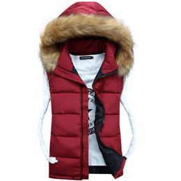 Wholesale Down Women Fur Vest - Wholesale-Hood Off Vest Faux Raccoon Fur Outerwear Unisex Lover Family Set Zip up Winter Vests veste cuir femme Polyester Down Padding