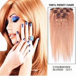 "Wholesale Strawberry Blonde Hair Color Extensions - 16"" 18"" 20"" 22"" 26"" 7PCS 100% remy Human Hair HAIR CLIP IN EXTENSION EXTENSIONS Color #27 Strawberry Blonde 32""&70g"