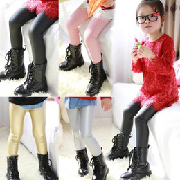 Wholesale Pu Leather Pants - 2-12year skinny black girls leather pants tight sequins pu legging 2015