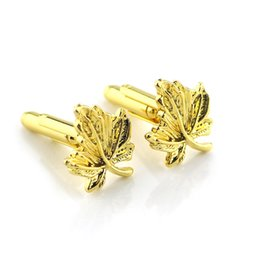 Wholesale Fine Jewelry Cufflinks - Xk196 Wholesale New Fashion Golden leaves US Christmas Men's Alloy Fine Jewelry Cufflink Drop Shipping