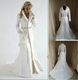 Wholesale Elastic Wraps - Wholesale - fur A line coat strapless satin White Winter Wedding Dress Cloak Chapel Train Satin Long Sleeve wedding Coat for bride