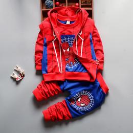 Wholesale Leopard Men Hoodie - 2017 Boys Clothes Sets 3 Pcs Kids Spider Man Hoodies Vest+sweatshirts+pants Children Sport Clothing Sets Baby Boy Clothing Suit