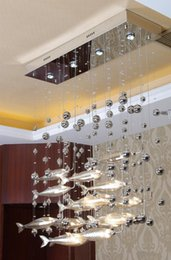 Wholesale Fish Mounts - Postmodern Modern LED Glass Flying Fish Chandeliers Dining-room Bar Pendant Lights Crystal Cognac Color Fishes Ceiling Lamps