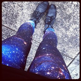 Wholesale Star Sexy Legging Pants - FG1509 2015 Women's Leggings Galaxy Cosmic Space Printed A03 Star Europe Sports Legging Sexy Slim Fitness Polainas Perneiras Pant