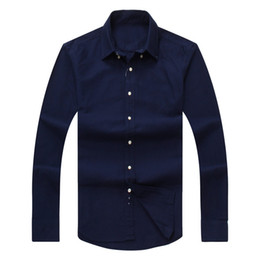 Wholesale Oxford Shirts Clothing - 2017 new autumn and winter men's long-sleeved cotton shirt pure men's casual POLO shirts fashion Oxford medusa shirt social brand clothing