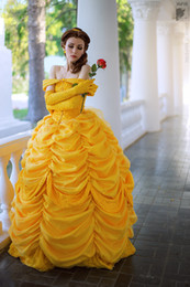 Wholesale Belle Beauty Beast Costumes Adults - Wholesale-Free shipping adult princess belle costume beauty and the beast costume women belle cosplay costumes for women dress custom