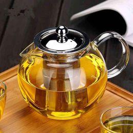 2019 vasi da fiori in teiera NEW Teiera in vetro resistente al calore Tè in fiore Set per tè Teiera per caffè Teiera per caffè con infusore Teiera per ufficio sconti vasi da fiori in teiera
