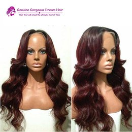 Wholesale Dark Wine Brown Hair - Ombre 99j Wavy wave Brazilian Human Hair Natural Black 1B to 99j wine red Glueless Full Lace Wigs and Lace Front Wigs