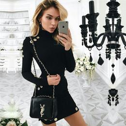 All ingrosso 2017 nuove donne estate autunno sexy nero manica lunga mini  abito collo alto pacchetto hip occhiello fasciatura dress vestidos plus  size sconti ... 9120d1c3b61