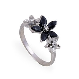 Wholesale Inspired Rings - Fashion Inspired Black and Siler Elegant Blossoming Jasmine Party Rings Hot Sale Cheap 24Pieces  lot Women Rings Size 7 8 9 GR140