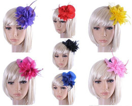 Wholesale Mini Top Hat Wholesale - Feather Hat Wedding Ribbon Gauze lace Feather Flower Mini top hats fascinator party hair clips caps homburg millinery Bridal Accessories