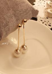 Wholesale Pendant Earings - Lady Earrings Chic Fashion Gold Charm Pearl Beads Stud Earrings Women Jewelry Gift OL Pearl Earings Long Eardrop pendant Earring Accessories
