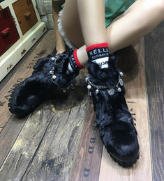 Wholesale High Performance Hair - High-end mink hair thick warm cashmere boots.Stylish metal chain decoration non-slip sole wear performance,Christmas essential free shipping