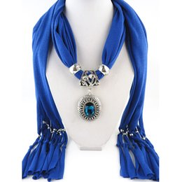Wholesale Weave Necklaces - Pendant scarf jewelry with beads Mixed 10 Design Colorful Scarves Charms Cross Necklace Via DHL 1805004